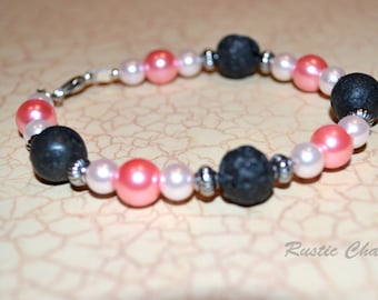 Pink glass pearl and Jet Lava Bracelet