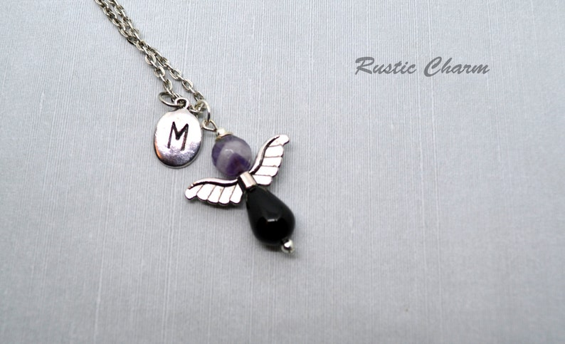 Personalized Faceted Amethyst and Black Onyx hand stamped Initial Angel Pendant