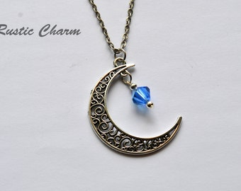 Personalized Birthstone Crystal Moon Pendant Necklace