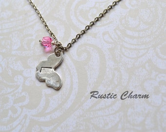 Personalized Birthstone Crystal and Hand Stamped Butterfly Charm Neacklace