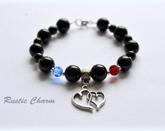 Personalized Double Heart and Double Birthstone Charm Bracelet