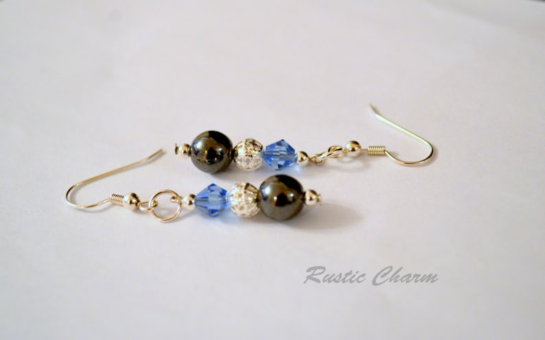 Blue Crystal and Hematite Earrings image 0