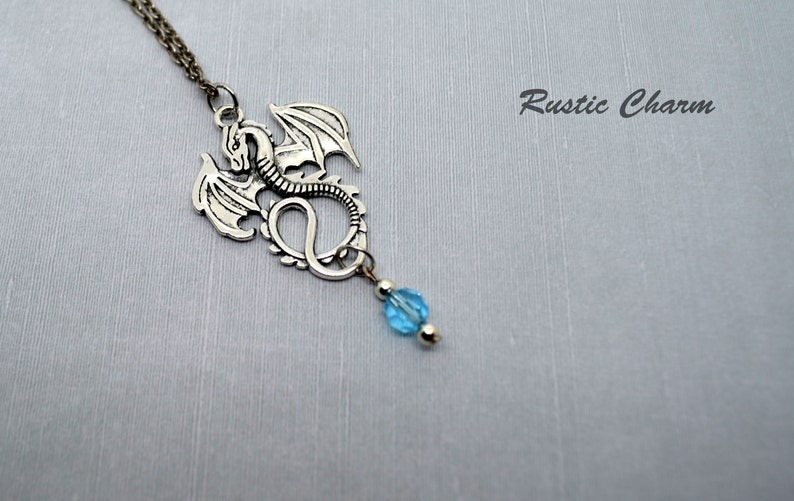 Personalized Birthstone Crystal Dragon Charm Necklace image 0