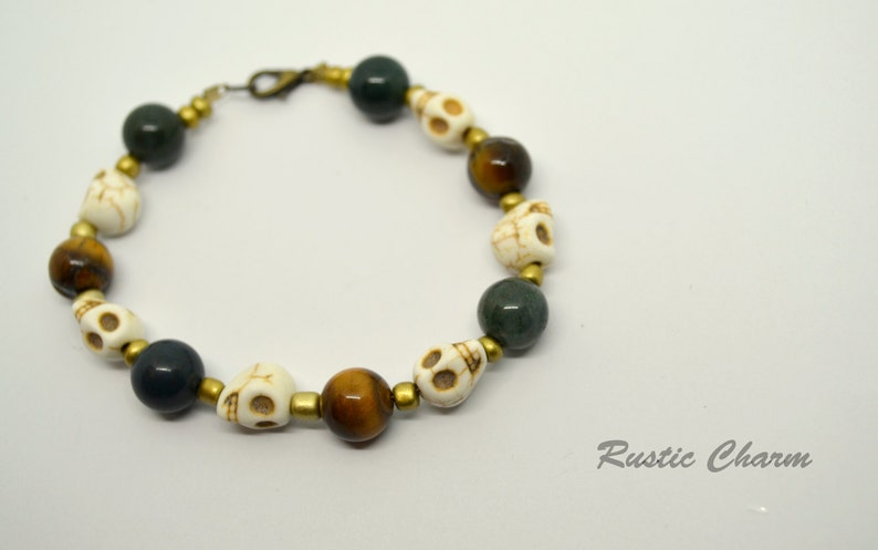 Fancy Jasper and Tiger Eye Skull Bracelet image 0