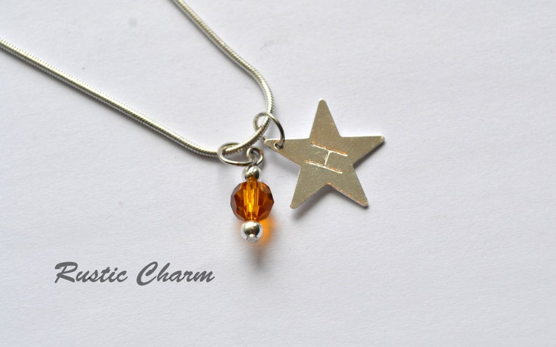 Personalized Hand Stamped Star initial Pendant with Crystal image 0