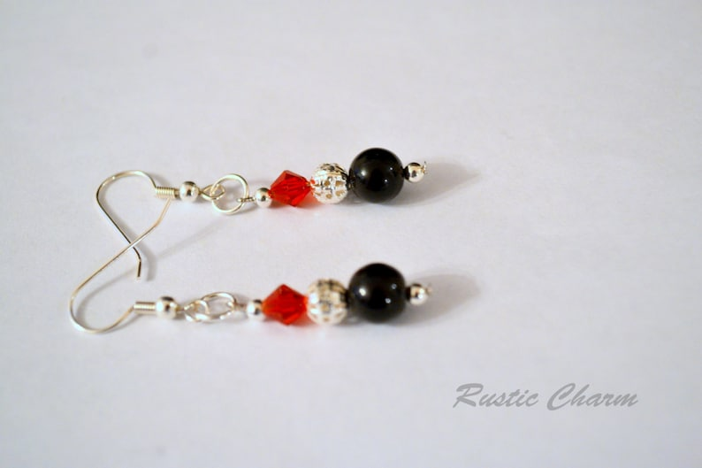 Red Crystal and Black Obsidian Earrings image 0