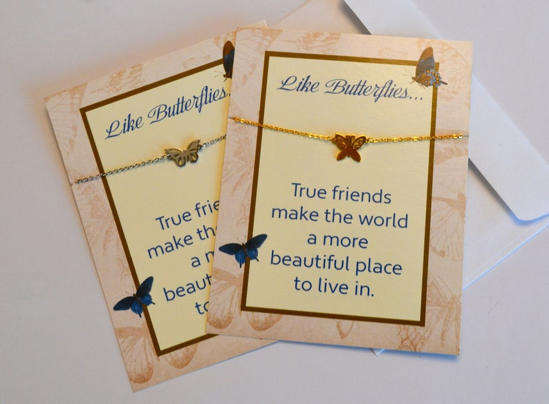 Stainless Steel Butterfly Bracelet Card Gold or Silver image 0