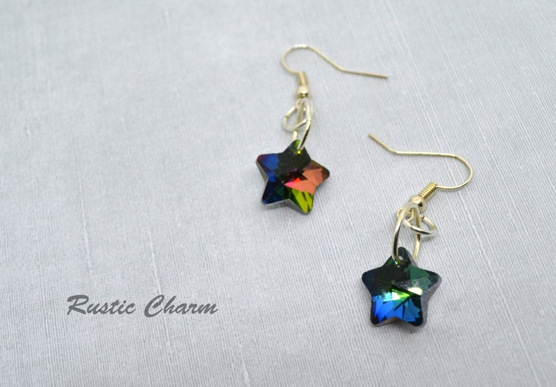 Faceted Multicolour Glass Star Earrings image 0
