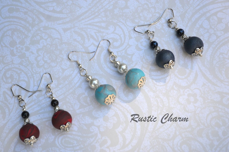Set of Three Handmade Polymer bead and glass pearl dangle image 0