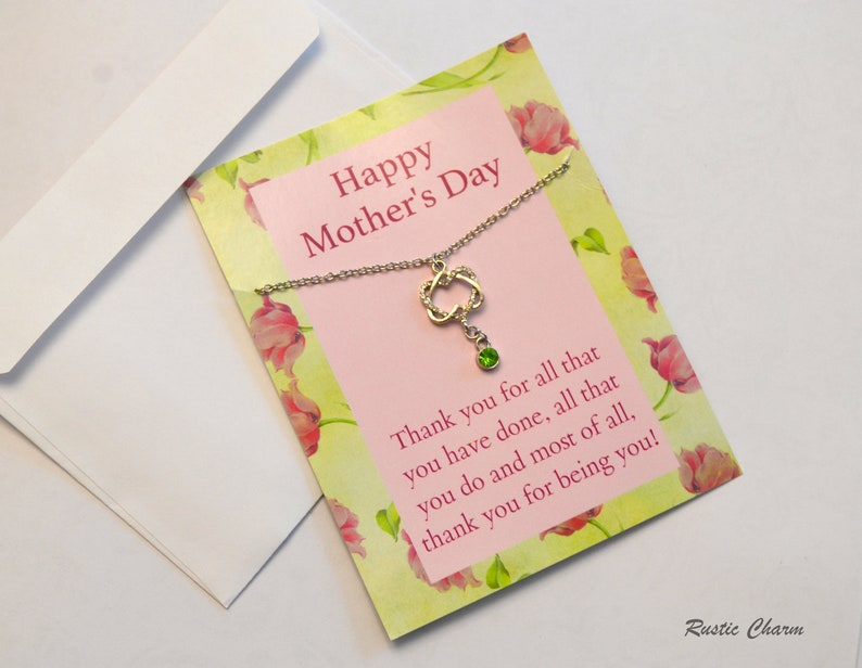 Personalized Mothers Day Birthstone Crystal Hearts Necklace image 0