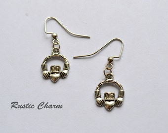 Antiqued Silver Plated Claddagh Earrings