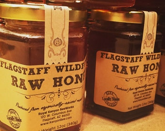 Raw Wildflower Honey from organically raised rescued bees in the mountains of Flagstaff, Arizona!
