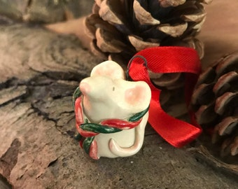 Tiny Christmas Mouse Hanging Decoration