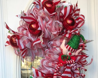 Elf Candy Cane Christmas Wreath