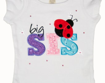Spring Lady Bug Big Sister Shirt