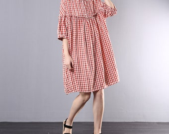 b514d7654af Women summer dress casual plaid dress
