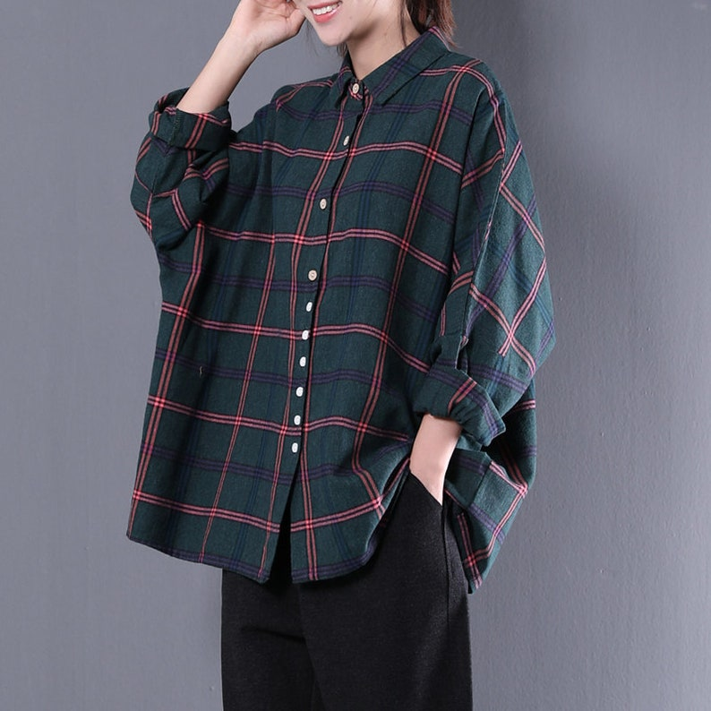 3ec16dfa83c2a Women loose shirt linen plaid blouse cotton t-shirt casual