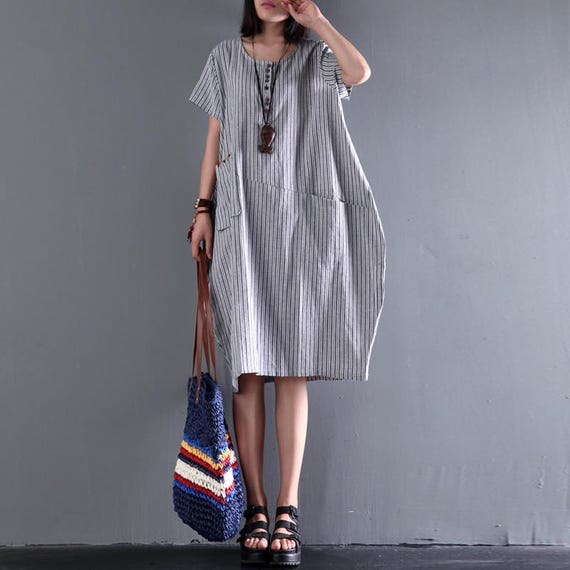 a7c87a64933 Women loose dress linen irregular dress vertical stripes casual dress  asymmetrical tunic dress plus size clothing with side pockets