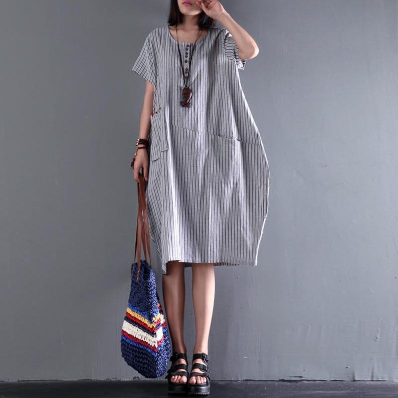 5bc5c2d3b0 Women loose dress linen irregular dress vertical stripes
