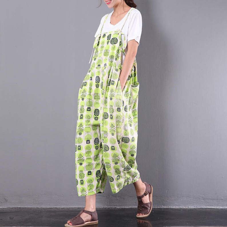 e7ccac0d435 Women Floral Summer Jumpsuits Green Linen Overalls Pants Wide