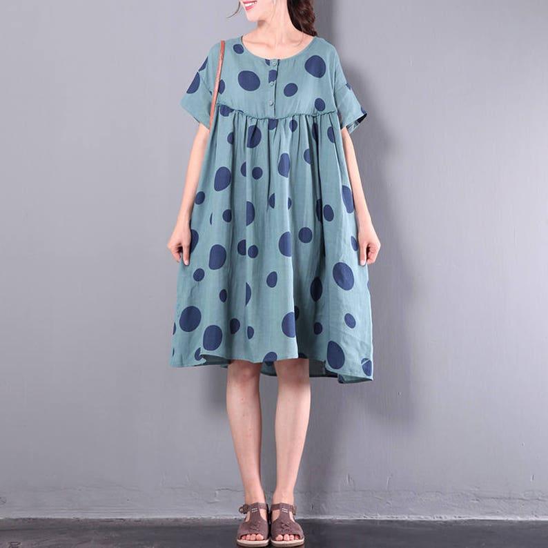 c1024e2dd6 Women sundress floral dress with dots comfortable linen tunic | Etsy