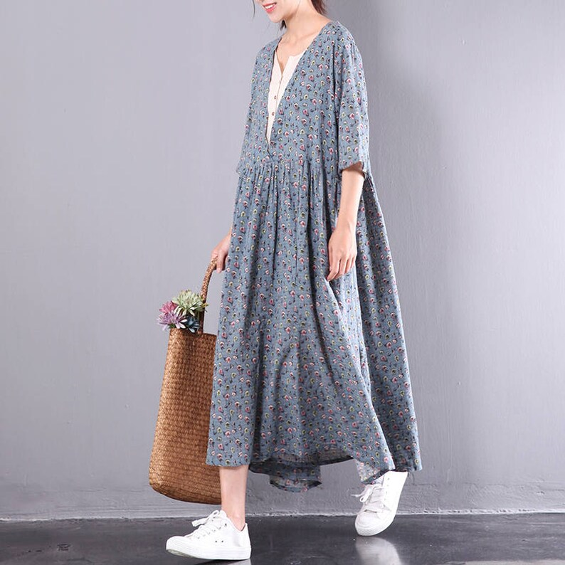 cba664850b Women floral dress v neck Blue linen dress pleated dress