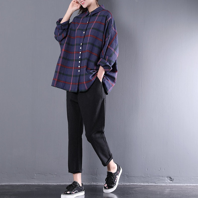 7f46e6f0c88 Women loose shirt linen plaid blouse cotton t-shirt casual