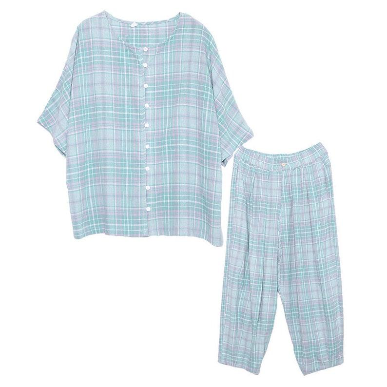 cotton blouse short sleeve tops and loose pants harem pants Women summer set Summer cotton and linen plaid pants set