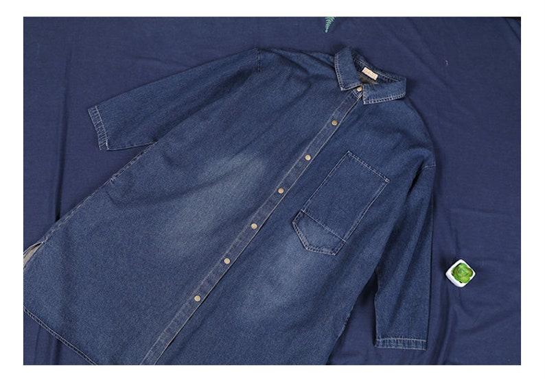 Autumn new loose large size washed denim single breasted shirt dress