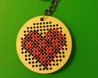 Cross Stitch Colored Heart Key Chain