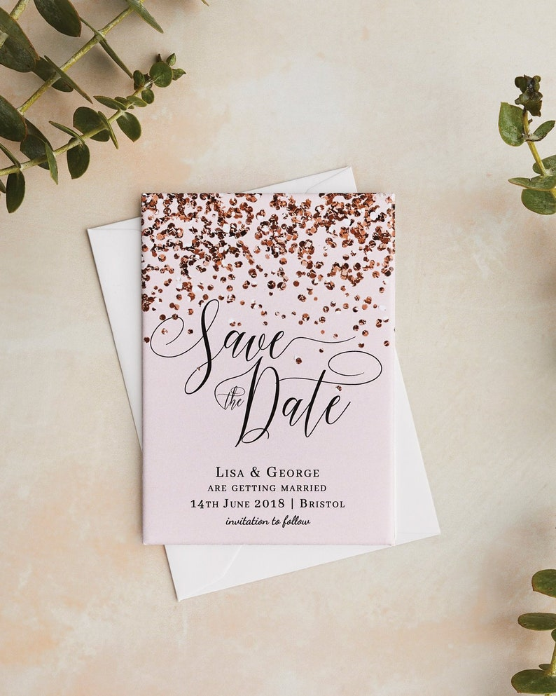 Wedding Save the Date Magnet  Elegant Rose Gold and Blush image 0