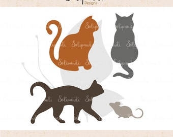 Cats and Mouse - SVG and DXF Cut Files - for Cricut, Silhouette, Die Cut Machines // scrapbooking // paper crafts // solipandi // #174