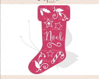 Christmas Stocking 'Noel' - SVG and DXF Cut Files - for Cricut, Silhouette, Die Cut Machines // scrapbooking // paper crafts // #160
