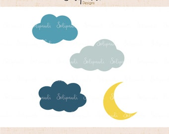 Clouds and Moon - SVG and DXF Cut Files - for Cricut, Silhouette, Die Cut Machines // scrapbooking // paper crafts // solipandi // #180
