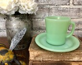 Vintage Jadeite Fire King Coffee Mug and Saucer Green Jadeite Teacup Plate
