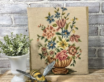 Handcrafted Floral Needlepoint! Vintage Wall Decor!