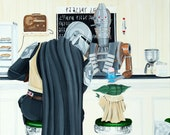 Mando and Baby Yoda is an Amazing Mash-up Art, Painted in 2020. This is Star Wars Art for Home, Office, Man Cave or Den.
