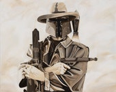 Boba Eastwood is one of two paintings in a set of Star Wars Art. This is Star Wars Art for Home, Office, Man Cave or Den.