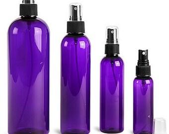Plastic Bottles, Purple PET Cosmo Round Bottles w/ Black Fine Mist Sprayers