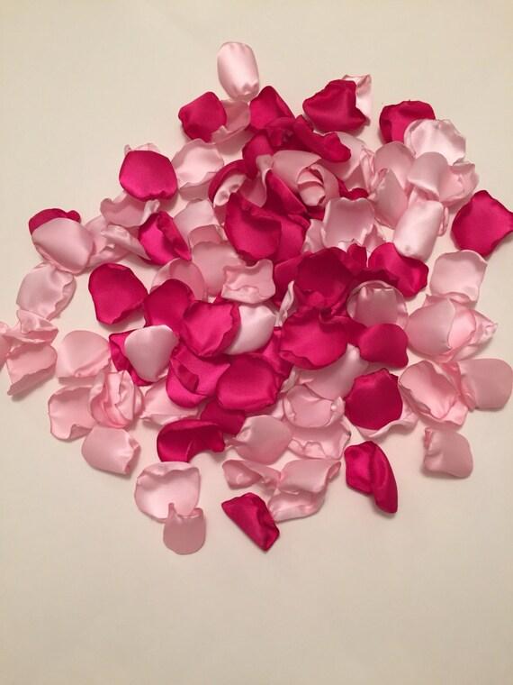 Satin rose petalsaisle petalsbridal petalshot pink wedding etsy image 0 mightylinksfo