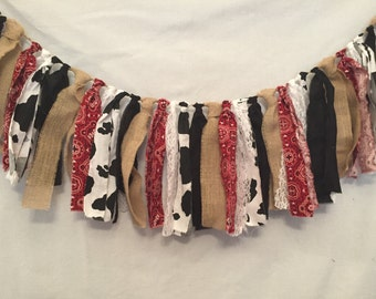 Rustic Fabric Garland/Cowboy Decorations/Bandana Garland/Cowgirl Decorations/Bandana Banner/Cowboy Banner/Western Garland/Cowgirl Banner