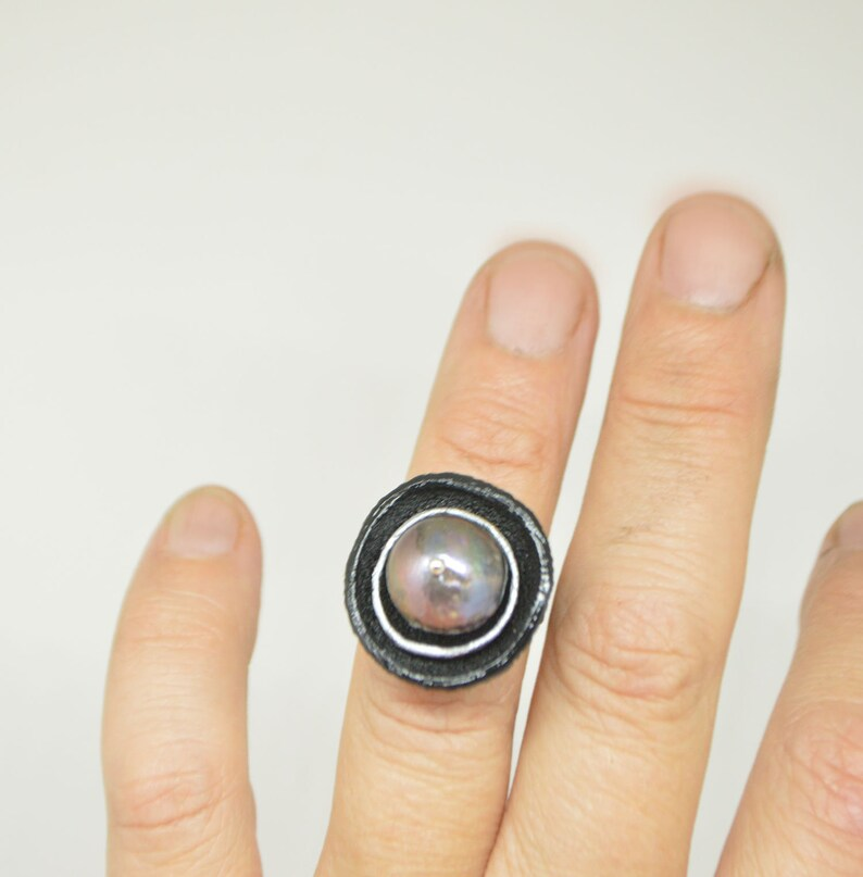 black leather ring size 8 nature ring Black Baroque Pearl ring