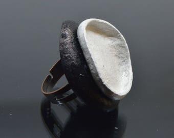 Black White Leather ring, adjustable leather ring, large black white ring, statement ring, oversize ring, natural leather circle ring
