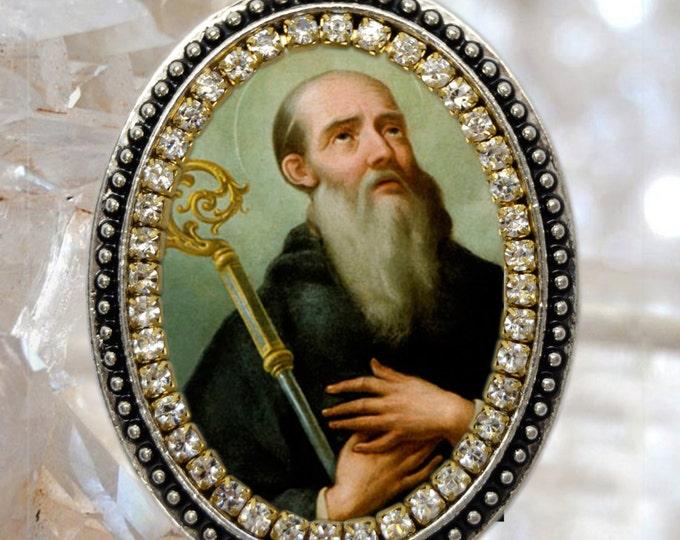 St. Benedict  Handmade Necklace Catholic Christian Religious Jewelry Medal Pendant