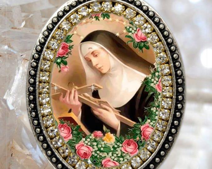 Saint Rita of Cascia or St. Rita de Cassia Handmade Necklace Catholic Christian Religious Jewelry Medal Pendant