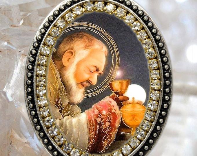 St. Padre Pio Handmade Necklace Catholic Christian Religious Jewelry Medal Pendant