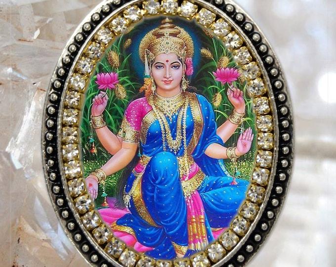 Goddess Lakshmi Handmade Charm Necklace Hindu Indian Jewelry Medal Pendant