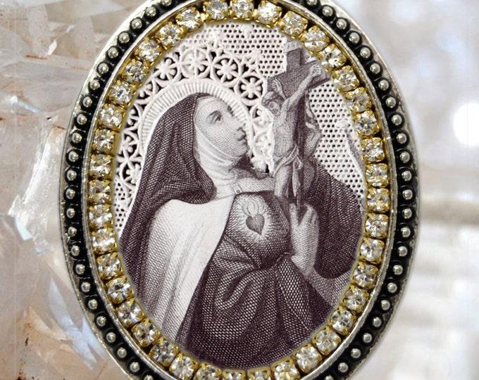 Saint Teresa of Avila Vintage Style Necklace, Santa Teresa de Ávila, Handmade Necklace Catholic Christian Religious Jewelry Medal Pendant