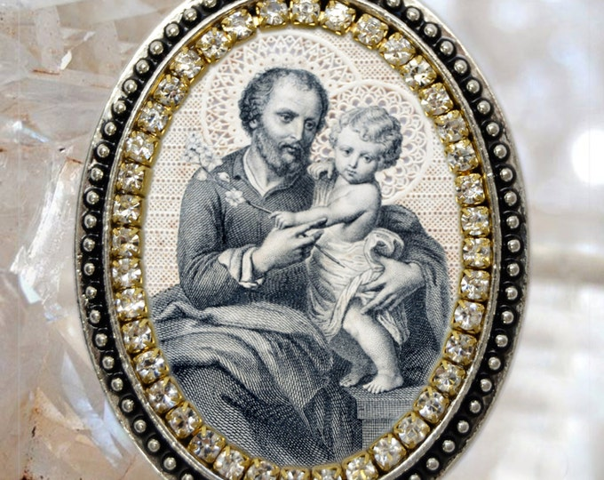 St. Joseph Vintage Style Handmade Necklace Catholic Christian Religious Jewelry Medal Pendant São José