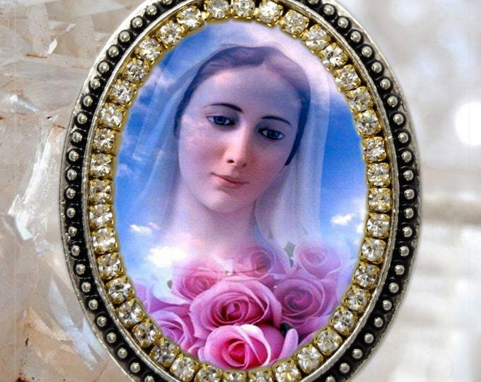 Our Lady of Medjugorje Handmade Necklace Catholic Christian Charm Religious Jewelry Medal Pendant